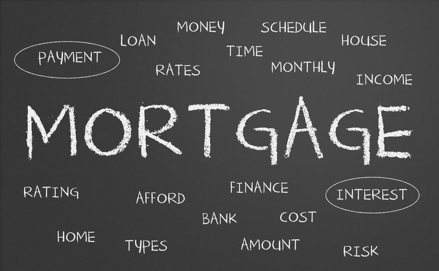 Small words on a chalkboard surrounding one bigger word, mortgage; referencing conventional mortgage types