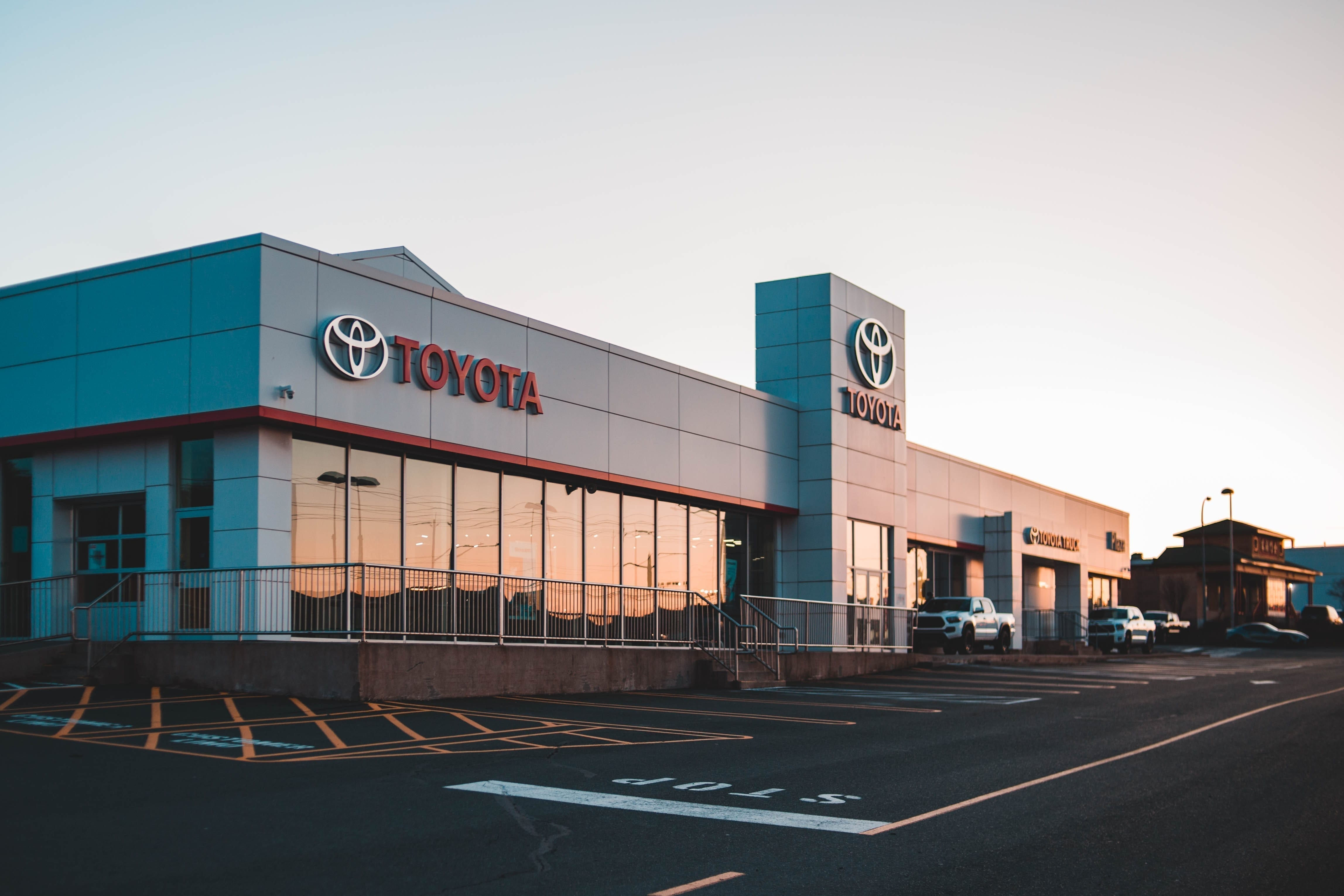 Toyota dealership at dawn, one of the many sales-driven jobs that are classified as variable employment that can affect a mortgage