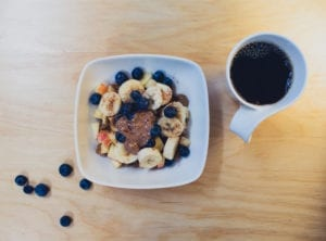 Bowel with nuts and banana and blueberries and oats with a cup of coffee highlighting food allergies as a possible cause of Irritable Bowel Syndrome