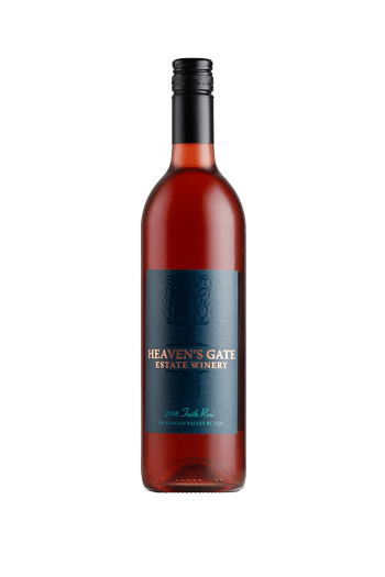 bottle of Heaven's Gate Winery 2018 Faith Rosé pink wine with black cap and dark teal label