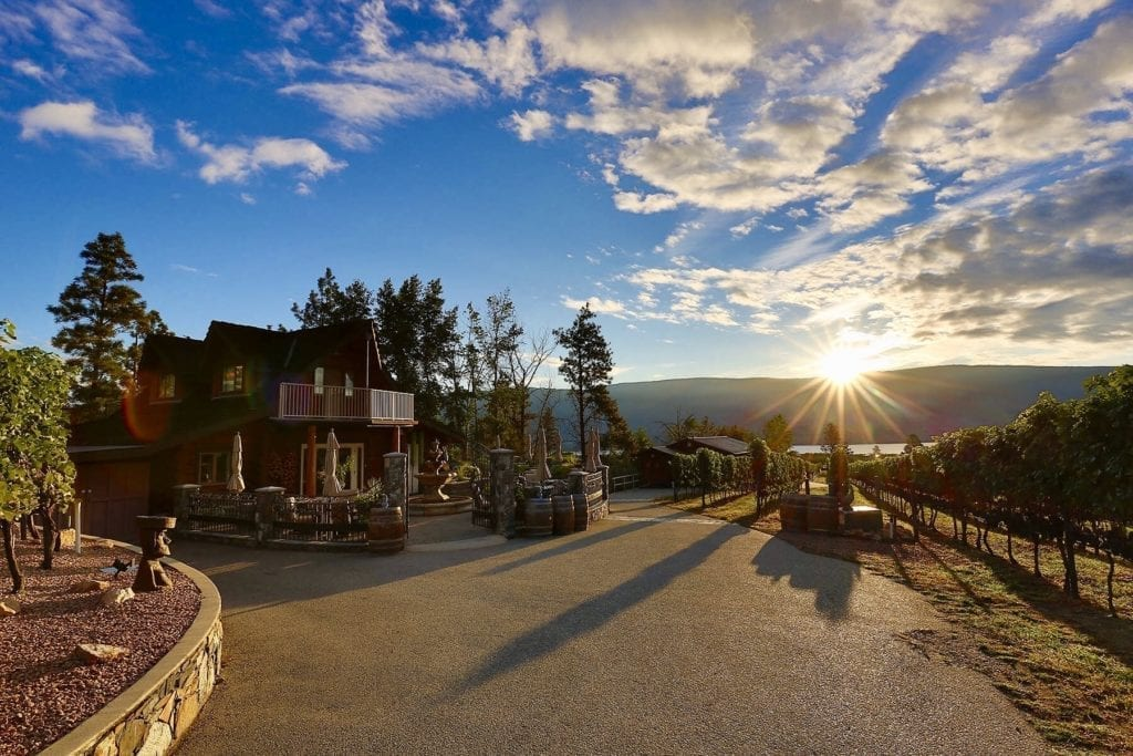 Sunset view of Heaven's Gate Winery, our favourite of the Summerland Wineries