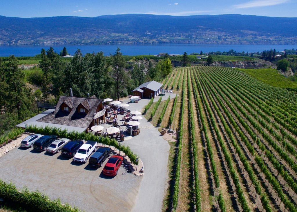 Birds eye view of Heaven's Gate Winery vineyard with Okanagan lake in the background