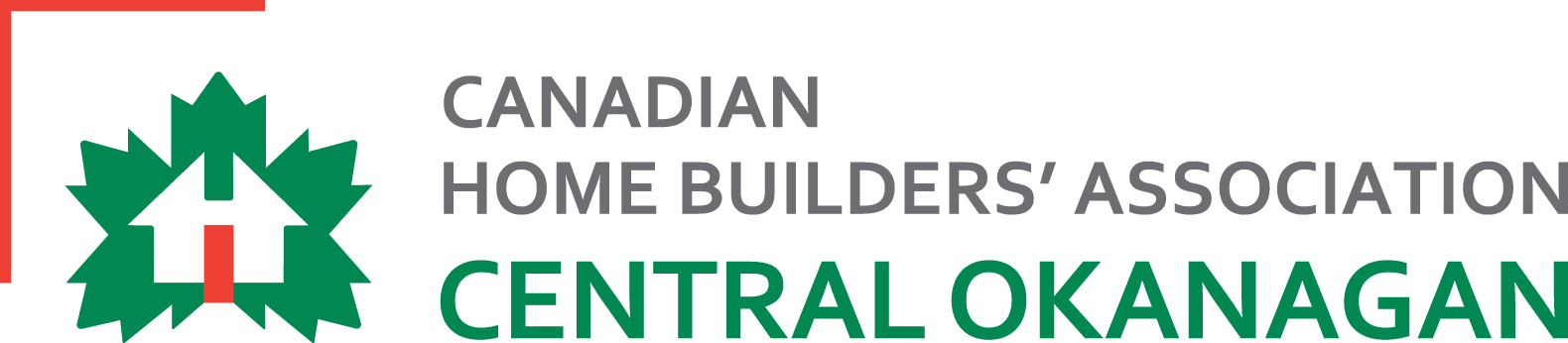 Canadian Home Builders Association Central Okanagan logo in red, green, and grey