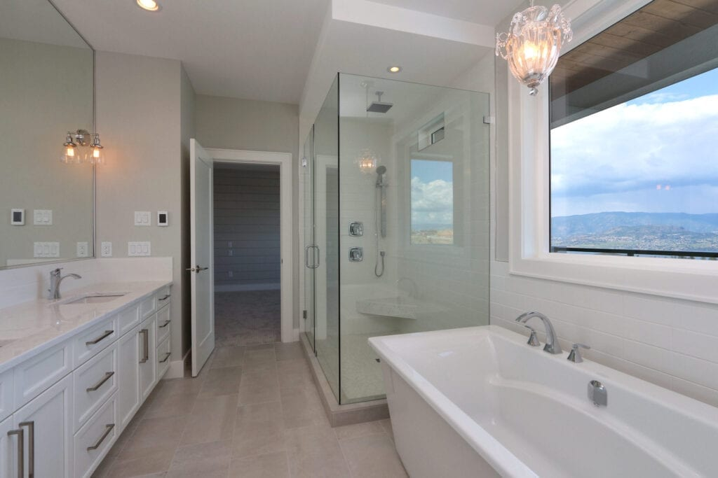 462 Rockview Lane custom bathroom with large window overlooking valley and spacious amenities