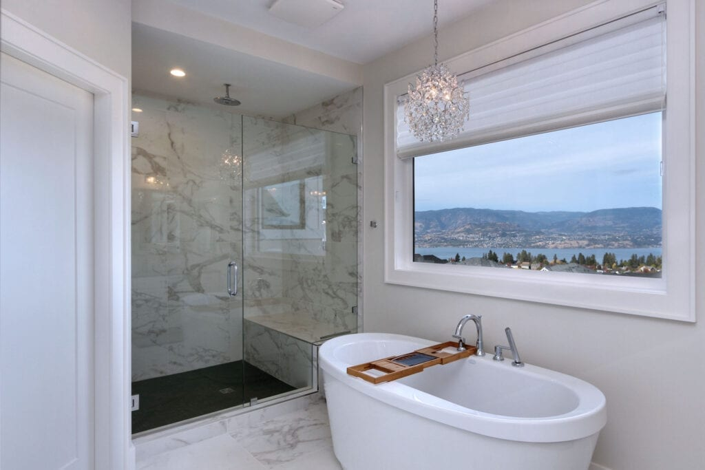 Free standing soaker tub with large custom shower at 470 Rockview Lane in Kelowna