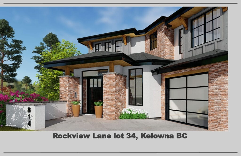 Front entrance rendering of 472 Rockview Lane showcasing door entry and garage