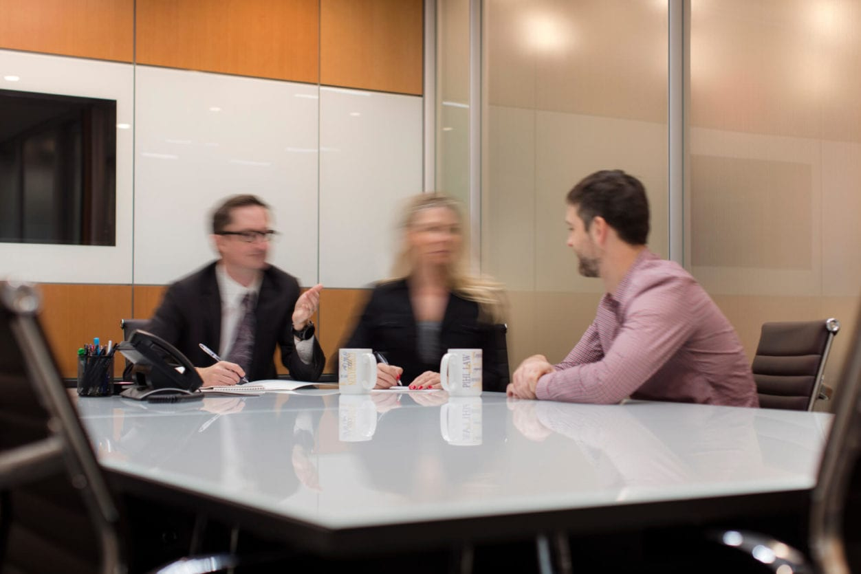 Pihl Law Boardroom Talk between Andrew Prior and colleagues