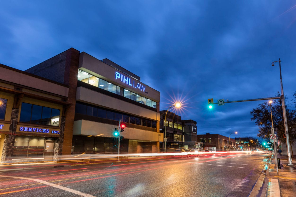 Pihl Law Office Building Street View at Dusk