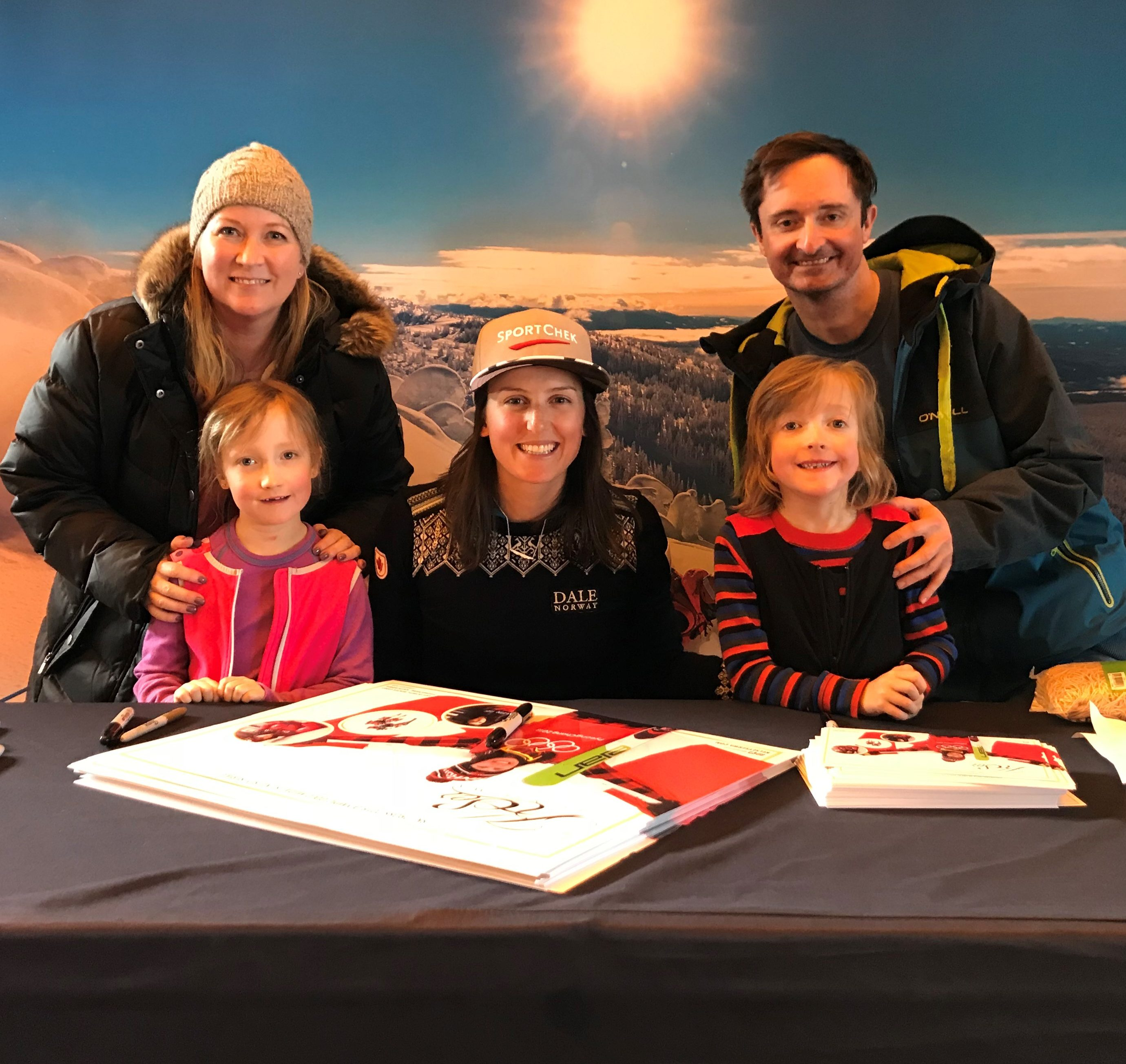 Andrew and Lesley Family Photo with Two Children and Rotary Woman