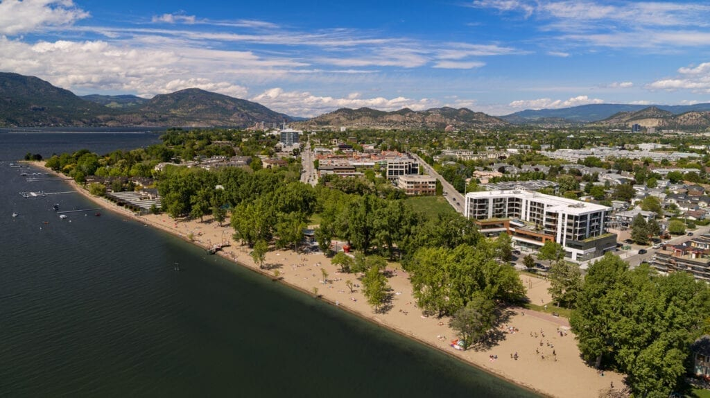 The Shore Kelowna vacation rentals next to Gyro Beach showing the perfect accommodations for a working holiday.