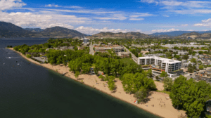 aerial view of The Shore Kelowna, a cabin rental alternative across from gyro beach