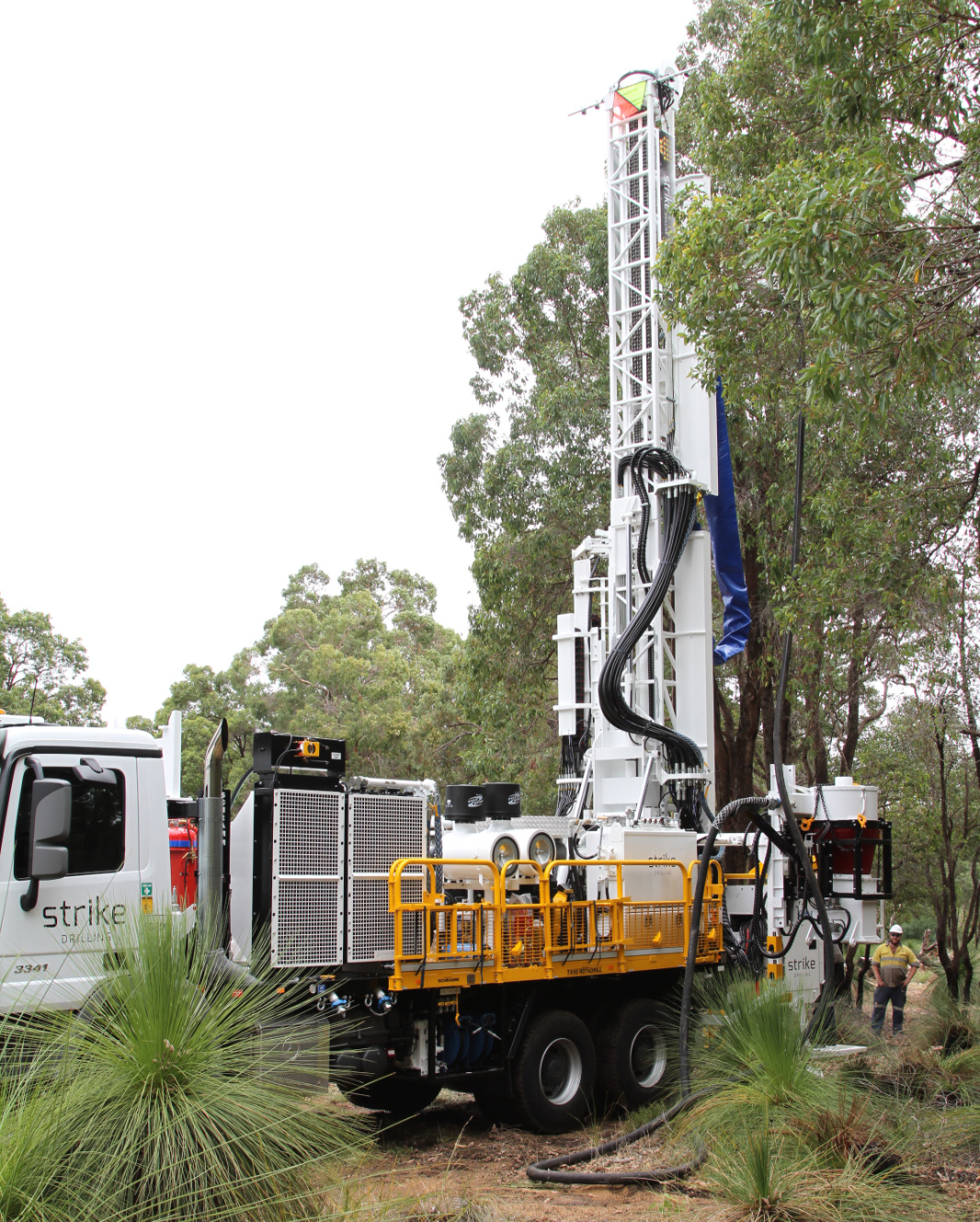 Schramm T450 Rig Outside Next to Tall Trees